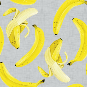 Banana Banana - Large Size on Grey Linen