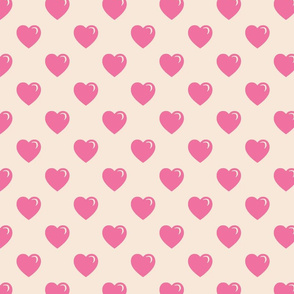 Valentine Hearts Pink Cream