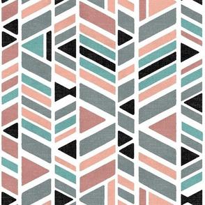 Kalta Minor block print - rose pink and grey