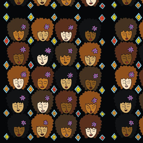 Female Heads with Afro and Purple Flower-large