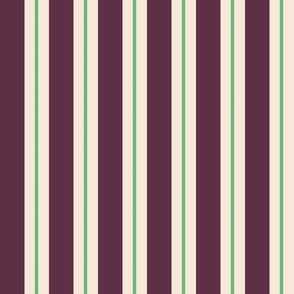 Vintage Stripe Cream Green & Plum