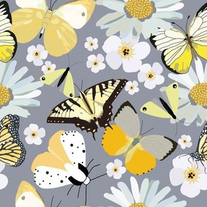Yellow Butterflies & White Flowers