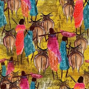 Maasai women with Ox
