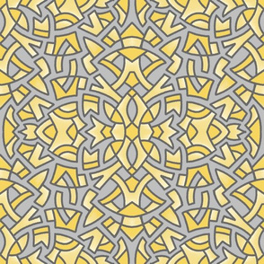 Sketchy Medallion yellow and grey 2021  12in