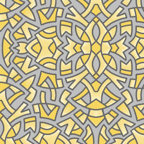 Sketchy Medallion yellow and grey 2021 24in