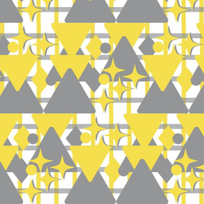 Grey Yellow Stars Triangles with Grid