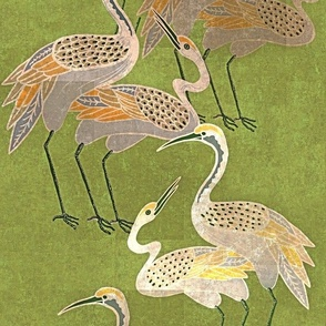 Deco Cranes -Spring Green - Large Scale