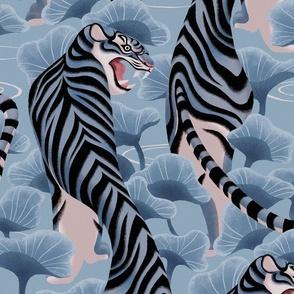 Walking tiger in lotus field (blue)