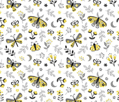 Yellow and gray butterflies