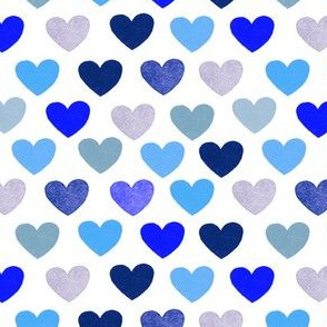 Hearts in blue