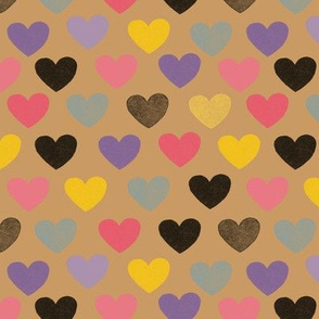 Hearts on brown background medium size