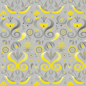 Whimsical Yellow Gray Floral