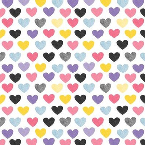 Small Scale Hearts white background
