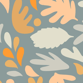 Retro Fall in Love - Blue Matisse Foliage - L