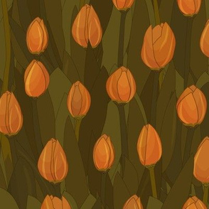 Green and orange retro Seamless repeat pattern of tulips
