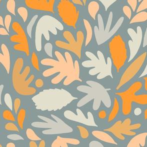 Retro Fall in Love - Blue Matisse Foliage - M