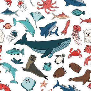 Seamless vector pattern of cartoon outline isolated sea ocean animals