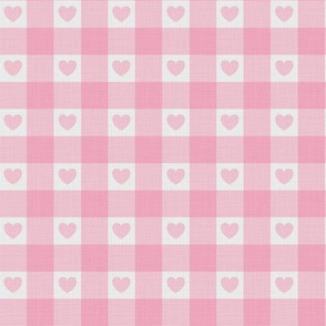 Pink Gingham hearts Linen