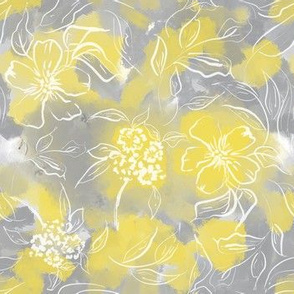 Yellow and gray watercolor florals