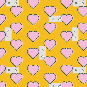 pink hearts on yellow background