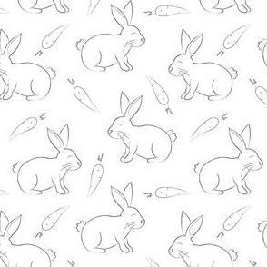 bunnies  & carrots- black & white
