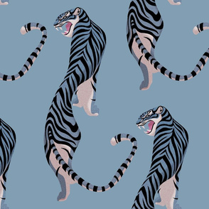 Walking tiger on pastel blue