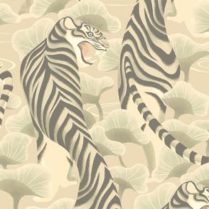 Walking tiger in lotus field (ivory)