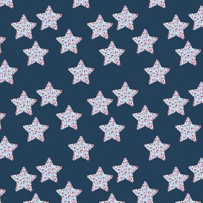 Leopard print stars american flag national holiday theme navy blue red white SMALL
