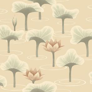 Lotus field on ivory
