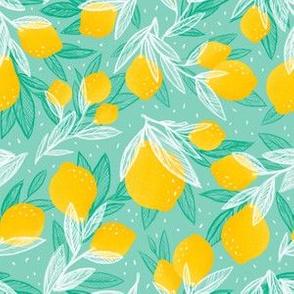 Leafy Lemons Tossed  Aqua/Mint | small scale