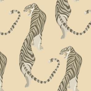 Walking tiger on ivory
