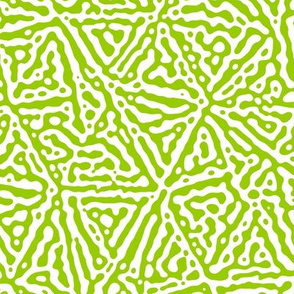 Triangle lines Turing design #3 -  lime green and white