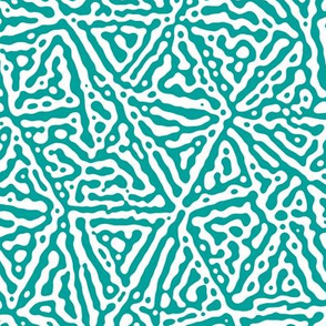 Triangle lines Turing design #3 -  turquoise and white