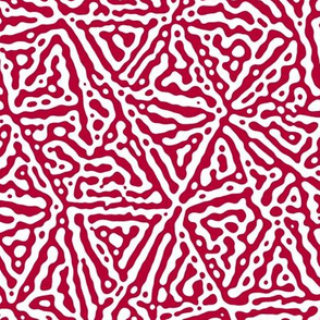 Triangle lines Turing design #3 -  crimson red and white