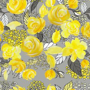 yellow roses medly cadmium yellow-lemon yellow-honey-deep yellow-pale yelllow-grays-yarrow