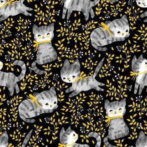 Garden-Cats grey and yellow- black