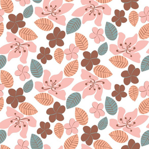 tropical botanicals in blush and peach pink by rysunki_malunki