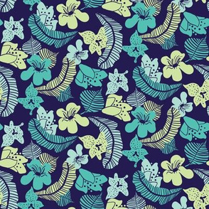 tropical flowers and leaves on navy blue by rysunki_malunki