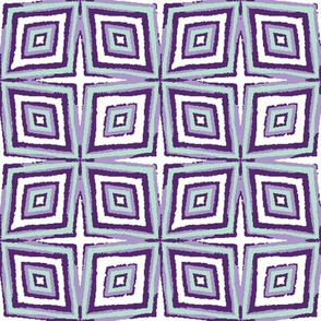 geometric abstract in purple and mint by rysunki_malunki