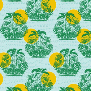 jungle stamp repeat 3 - green on blue