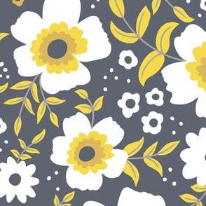 Retro Yellow & Grey Floral