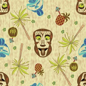 Brown and Aqua Tiki Masks