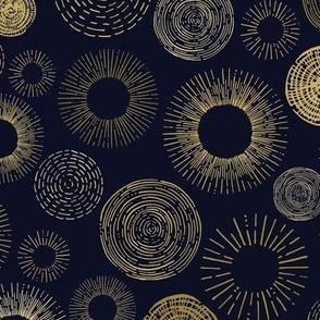 Sun Spheres On Navy