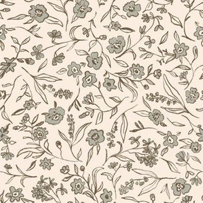 Ditsy buttercup floral - shell blue