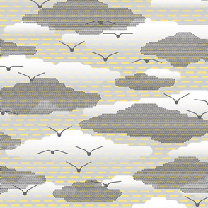 clouds on yellow stripes