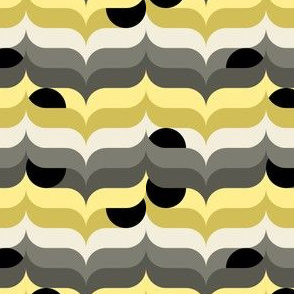 Geometry modern black circles in Grey and Yellow