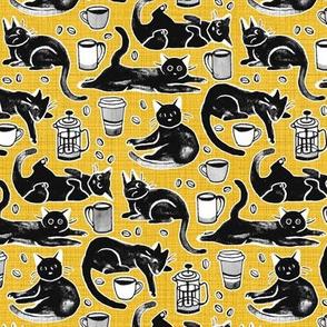 Black Cats & Coffee on Classic Yellow - Medium Scale