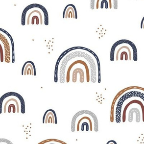 The Spotted Rainbow vintage magic sky navy blue rust neutral winter palette on white