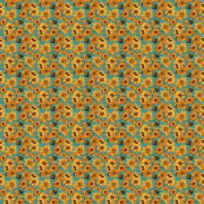 TINY Van Gogh Sunflowers teal orange