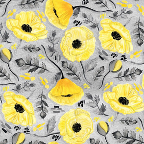 Butter Yellow Poppies on Pearl River Grey